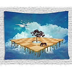 Mystic House Decor Tapestry, Surreal Landscape over Clouds with Tree Horse and Flying Clocks Birds Illusion Art Print, Wall Hanging for Bedroom Living Room Dorm, 60 W X 40 L Inches, Multicolor