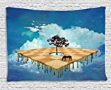 Mystic House Decor Tapestry, Surreal Landscape over Clouds with Tree Horse and Flying Clocks Birds Illusion Art Print, Wall Hanging for Bedroom Living Room Dorm, 80 W X 60 L Inches, Multicolor
