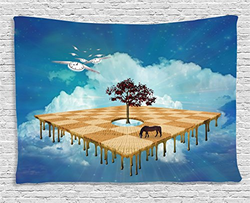 Mystic House Decor Tapestry, Surreal Landscape over Clouds with Tree Horse and Flying Clocks Birds Illusion Art Print, Wall Hanging for Bedroom Living Room Dorm, 80 W X 60 L Inches, Multicolor - Mystic Tapestry
