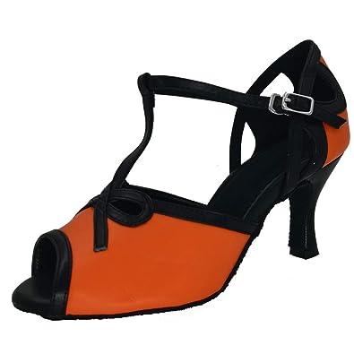 bb2dcc035d Misu Women's Peep Toe Sandals T Strap Party Wedding Latin Salsa Tango  Practice Ballroom Dance Shoes 3