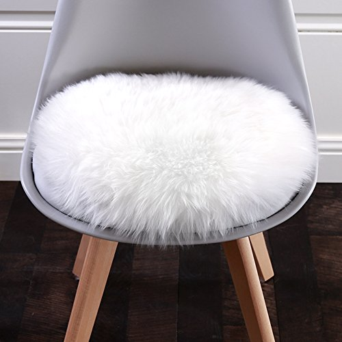 Lee D.Martin Super Soft Fluffy Shaggy Rug Home Decor Round Carpet Faux Sheepskin Silky Cushion for Bedroom Floor Sofa Chair,Chair Cover Seat Pad Couch Pad Area Rug,13.7''x13.7'',Ivory White (Cushion Chair White)