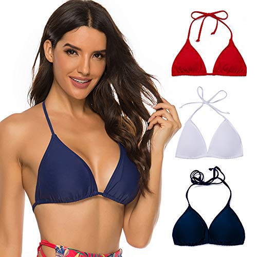COLO Women Triangle Bikini Top Push up Padded V-Neck Lace-up Basic Swimsuit Top Black White Red M (Red White And Blue Bathing Suit Top)