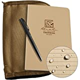 Rite in the Rain Weatherproof Tactical Field Kit: Tan CORDURA Fabric Cover, 4 5/8'' x 7 1/4'' Tan Tactical Notebook, and Weatherproof Pen (No. 980T-KIT)