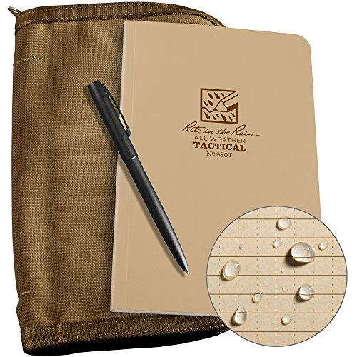 Rite in the Rain All-Weather Tactical Field Kit: Tan CORDURA Fabric Cover, 4 5/8