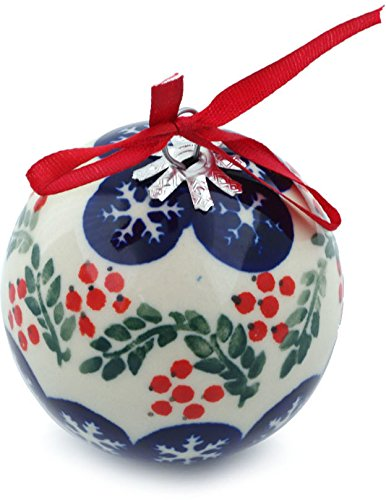 Polish Pottery 3½-inch Ornament Christmas Ball (Snowflakes Tree Theme) + Certificate of Authenticity