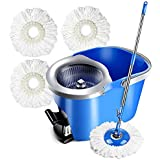 Masthome Spin Mop with 3 Microfiber Heads 360 Magic Hand Press Spin Mop & Foot Pedal Bucket Wringer 2 in 1 for Floor Cleaning Rotating, 8L