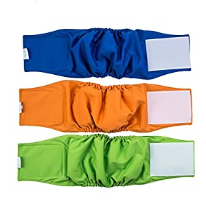 """VIILER Pack of 3 Reusable and Absorb Dog Diapers/Belly Bands/Wraps/ for Small/Medium Male Dogs (M:16""""- 20""""waist)"""