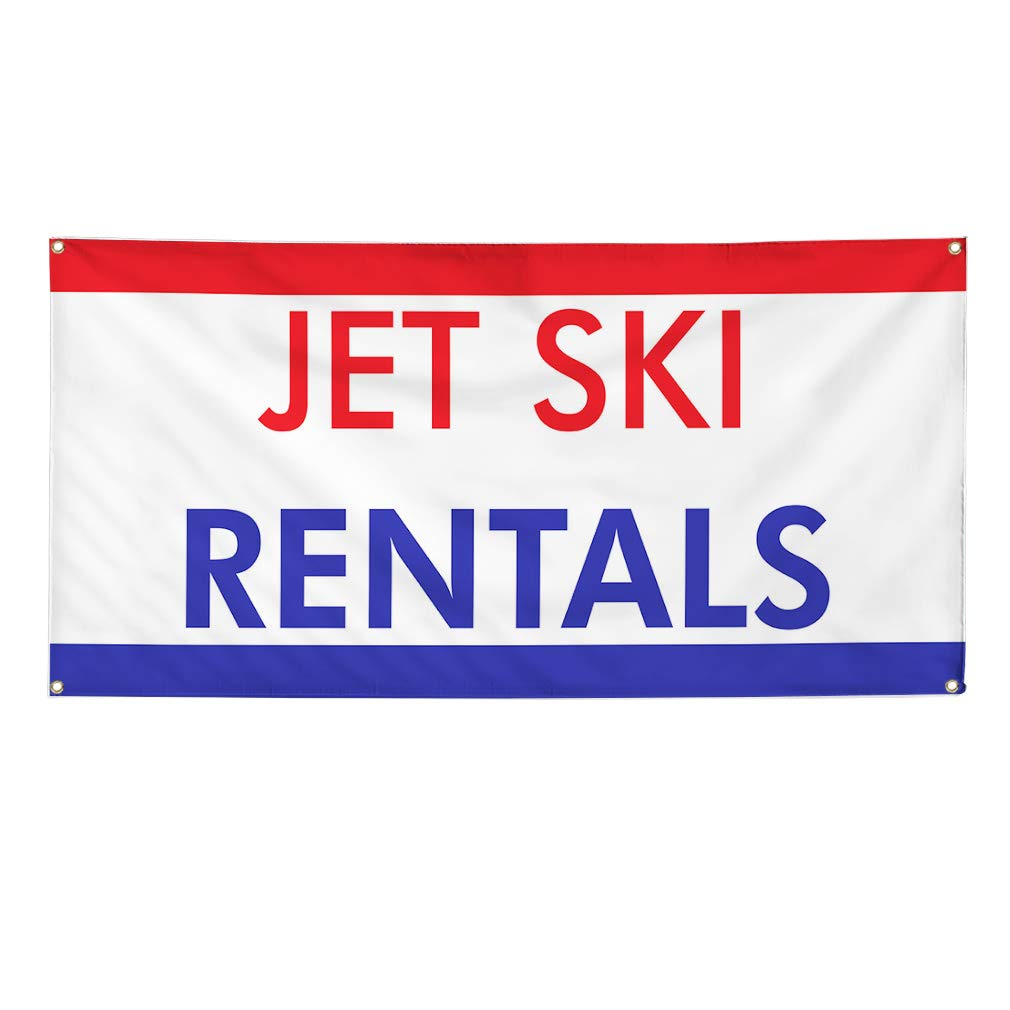 Multiple Sizes Available 48inx96in One Banner Vinyl Banner Sign Jet Ski Rentals Business Banners Outdoor Marketing Advertising White 8 Grommets