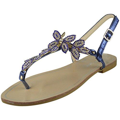 Post de Azul 3 Diamante Zapatos mujer Sandalias Bling Toe 8 Summer Tamaños Peeptoe Damas Flat 1IqCq