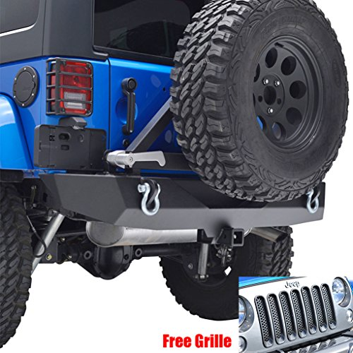 E-Autogrilles Jeep Wrangler JK Rear Bumper With Tire Carrier and Free Mesh Grille Insert