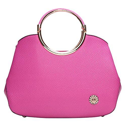 Hellofashion Women's Elegant A Little Leather Handbag Rose Red One Size