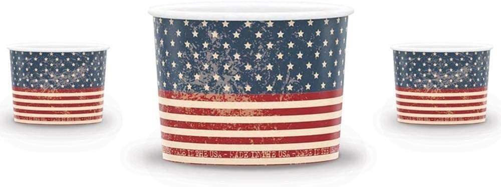 [50 Count] America Paper Ice Cream Cups - 12 oz Red, White & Beautiful Dessert Bowls - Perfect For Your Yummy Foods! Many Colors & Sizes - Frozen Dessert Supplies