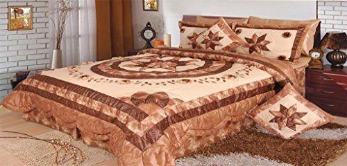 - DaDa Bedding Hazelnut Stars Quilt Bedspread Set, Floral Decorative Brown & Crème, Twin, 3-Pieces