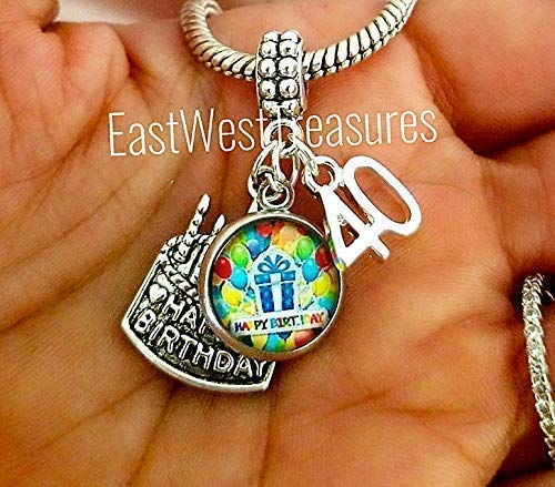 d873f0a3ecc Image Unavailable. Image not available for. Color  40th birthday gift for  her women-40th birthday Charm Bracelets ...