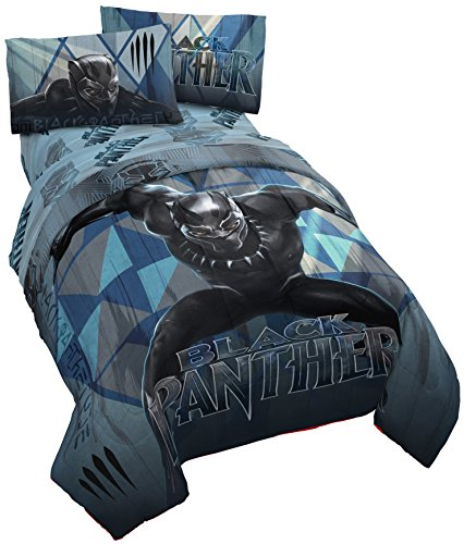 Jay Franco Marvel Black Panther Blue Tribe Twin Comforter - Super Soft Kids Reversible Bedding - Fade Resistant Polyester Microfiber Fill (Official Marvel Product)