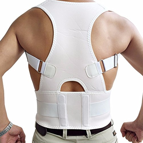 CFR Magnetic Posture Corrector Back Braces Shoulder Waist Lumbar Support Belt Humpback Prevent Body Straighten Slouch Compression Pain Relief - White,M UPS Post