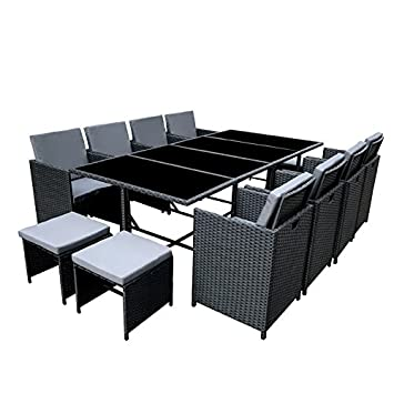 Gartenmöbel sitzgruppe rattan lounge  Amazon.de: POLY RATTAN Essgruppe Rattan Set mit Glastisch Garnitur ...