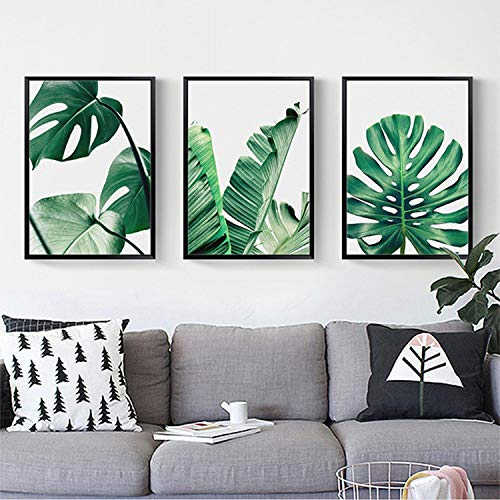 Qenci 17.7 x 26.6inch Frameless Oil Paintings Modern Prints Artwork Abstract Landscape Pictures Printed on Canvas Wall Art Home Office Decorations Banana Leaf (Frameless) (Banana Leaf Picture)