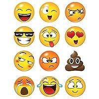 12 Emoji grande se enfrenta a la etiqueta de la calcomanía gráfica # 6052-6x6 (6 pulgadas de tamaño). Emojis sonrientes reutilizables similares a los iconos del teclado de iPhone /Android.