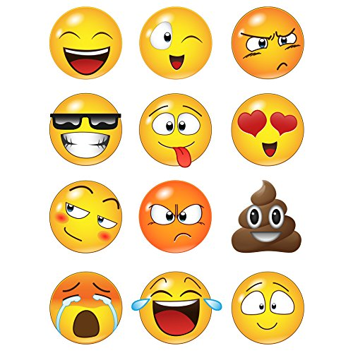 - 12 Large Emoji Faces Wall Graphic Decal Sticker #6052-6x6 (6 Inches in Size). Reusable Smiley Emojis Similar to iPhone/Android Keyboard Icons.