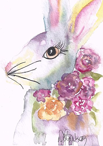 (Easter Note Cards: 6 Blank Artistic Watercolor Cards, with Envelopes - Vintage Rabbit)