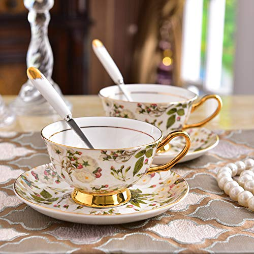 GGsmd European Bone Porcelain Cup High-Grade Afternoon Tea Cup Ceramic Coffee Cup Disc Phnom Penh with Spoon Mugs