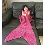 Wenfengshop Mermaid Tail Blanket Adult/Kids , All Seasons Knitted Blanket, Sleeping Bag Sofa Bed Snuggle Mermaid (Kids, Red & Grey)