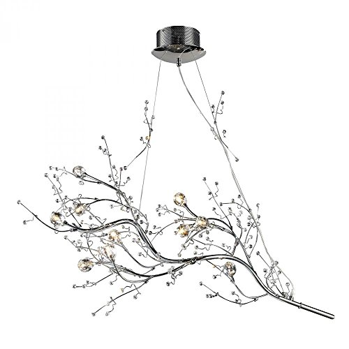 Decomust 40 inch ,10 Light Oval Shaped Tree Twig Branch Flower Crystal Chandelier Light in Chrome Finish with Crystal