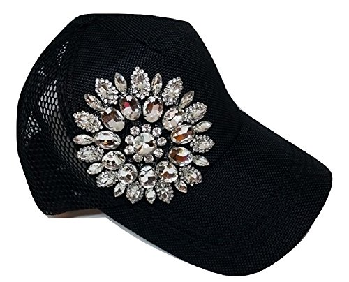 Women's Olive & Pique Big Rhinestone Flower Ball Cap with Net Back (One Size, Black)