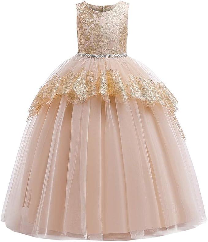 Vestido Princesa Niñas Vestidos para niña Bordado De Encaje Flor ...
