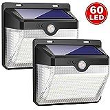 Luces Solares, 2 Paquetes Luz Solar 60 LED Lámpara Solar Exterior IP65 Impermeable Solar Luz LED Iluminación Exterior con Sensor de Movimiento para Jardín, Patio, Terraza, Inicio, Camino, Escalera Exterior