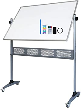 36*24 Magnetic Dry Erase Board Whiteboard Double-sided Mobile with Stand