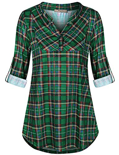 Miusey Womens Tops,Gingham 3/4 Sleeve Shirts for Women Classic Knit Wear Cute V Neck Collared A Line Tunic Fluttery Cozy Curved Hem Blouse Embellished with Vintage Buttons Green L