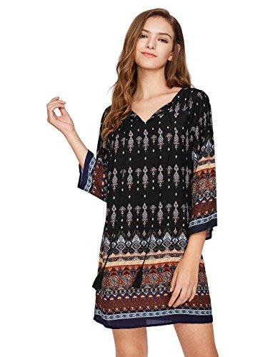 Romwe Womens Boho Bohemian Tribal Print Summer Beach Dress Black M