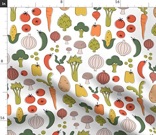 (Spoonflower Vegtables Fabric - Farmers Market Kitchen Cook Garden Carrot Corn Celery Tomato Modern Retro Print on Fabric by The Yard - Velvet for Upholstery Home Decor Bottomweight Apparel)