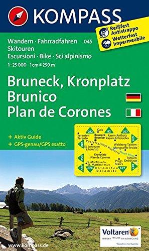 Bruneck - Kronplatz - Brunico - Plan de Corones: Wanderkarte mit Aktiv Guide, Radrouten und alpinen Skirouten. GPS-genau. Dt. /Ital. 1:25000 (KOMPASS-Wanderkarten, Band 45)