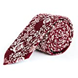 Mens Skinny Tie - Perfect Floral Neck Tie - For Weddings, Groomsman, Events, and Gifts - 24/7 Look Fresh Guarantee (Banzai)
