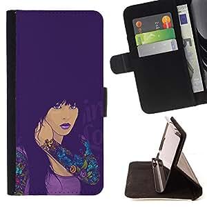 BullDog Case - FOR/LG Nexus 5 D820 D821 / - / SEXY TATTOO GIRL /- Monedero de cuero de la PU Llevar cubierta de la caja con el ID Credit Card Slots Flip funda de cuer