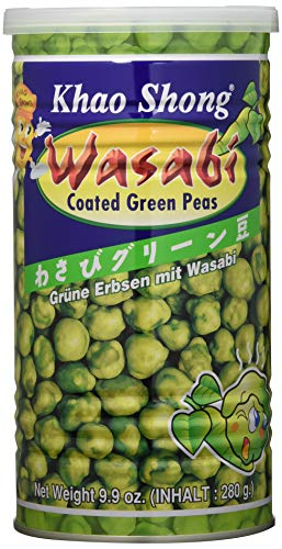 Khao Shong Grüne Erbsen mit Wasabi, knackige Erbsen im scharfen Teigmantel, fettärmere Alternative zu Nüssen, mittlere Schärfe, 1 x 280 g Dose
