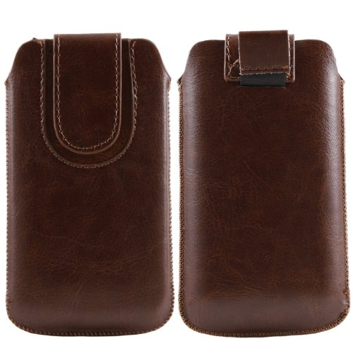 iTALKonline Nokia Asha 302 Brown PREMIUM PU Leather Vertical Pull Tab Executive Side Pouch Case Cover Holster with Magnetic Closure