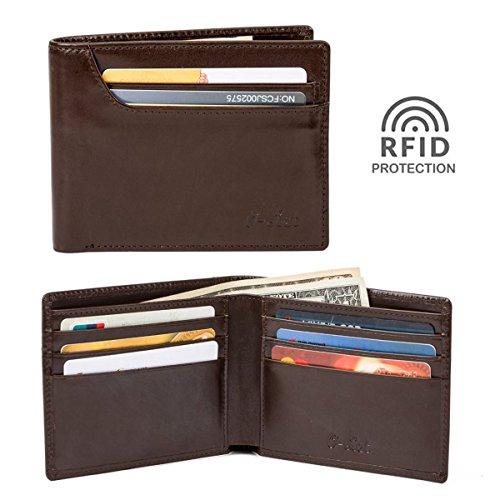 O-LET RFID Wallets for Men,Mens Bifold Wallets Leather Front Pocket Wallet w/ 9 Cards Slots & Divided Billfold Dark Brown Divided Pocket