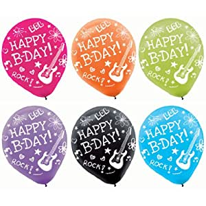 """Amscan Vibrant Neon Printed Latex Birthday Party Balloons Decoration (6 Pack), 12"""", Multicolor"""