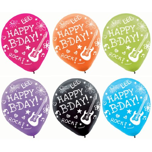 [Amscan Vibrant Neon Printed Latex Birthday Party Balloons Decoration (6 Pack), 12
