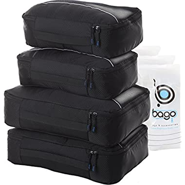 Bago Packing Cubes 4pcs Value Set for Travel - Plus 6pcs Organizer Bags (BLACK)