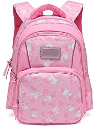 Cute Fox Printed Kids Backpack for Girls, Lightweight Waterproof Schoolbags for Elementary School, Pink
