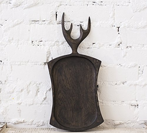 ssed Wood Serving Board (Wooden Cutting Board, Vintage Wood Board, Chopping Board, Bread Board) With Horns, 16-Inch, Solid Oak Wood ()