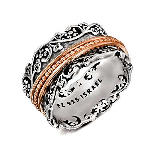 Paz Creations .925 Sterling Silver and Rose Gold Over Silver Spinner Ring (9), Made in Israel by PZ (Image #2)