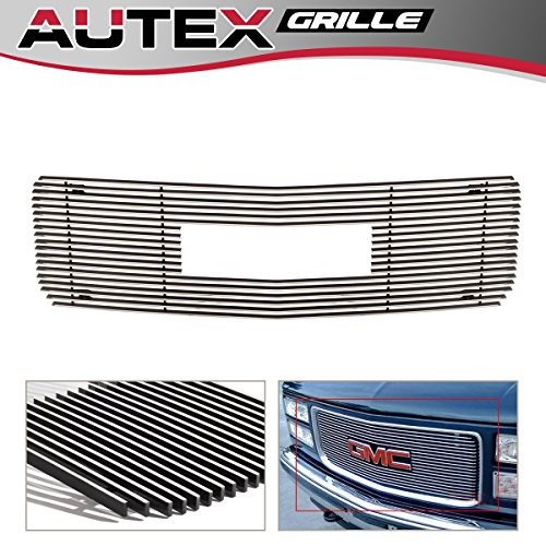 AUTEX G65714A Aluminum Polished Upper Billet Grille Insert Compatible With GMC C/K Pickup Stacked Lights 1994-1998,GMC Suburban Composite Plastic Lights 1994-1999,GMC Yukon 1994-1999 Grill