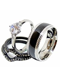 His & Hers 4 PCS Black IP Stainless Steel Engagement Ring Set/Mens Matching Band