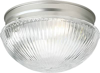 Forte Lighting 6038-02-55 Flush Mount with Clear Ribbed Glass Shades, Brushed Nickel